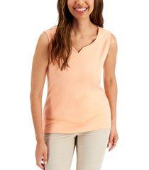 karen scott cotton split-neck tank top, created for macy's