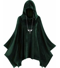 hooded velvet plus size poncho