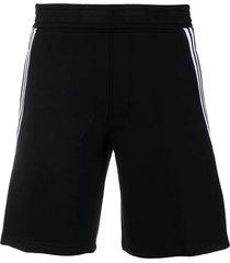 neil barrett black cotton blend track shorts