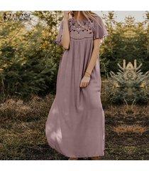zanzea las mujeres de manga corta con estampado floral vestido largo kaftan vestidos maxi floja ocasional -rosado