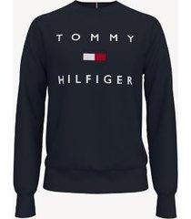 tommy hilfiger men's essential logo sweatshirt night sky - xxl