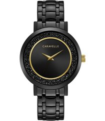 caravelle designed by bulova women's crystal black stainless steel bracelet watch 36mm