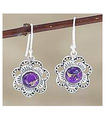 sterling silver dangle earrings, 'snow flowers' (india)