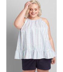 lane bryant women's sleeveless halter-neck top with flounce hem 34/36 blue and white stripes