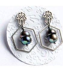 hamsa - talizman - kolczyki z perłami
