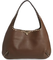 valentino garavani rockstud leather hobo bag - brown