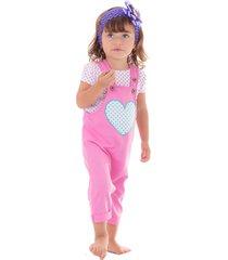 overol con aplique de corazon estapado contraste con blusa rosado 12m bocared traviata 10300