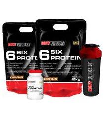 kit 2x 6 six protein 2kg chocolate + 100% creatine 100g + coqueteleira – bodybuilders .