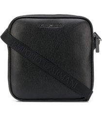 emporio armani pochete com placa de logo preta - preto
