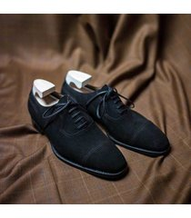 handmade men formal black oxford suede leather shoes, men black dress shoes
