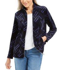 karen scott petite plaid zip-front jacket, created for macy's