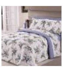 jogo de cama casal sortido fio misto flores lilás