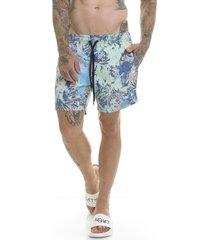 shorts bermuda premium estampada slim fit oceano offert azul