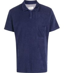 universal works vacation fleece polo shirt - blue