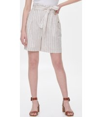 calvin klein striped tie-waist linen shorts