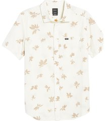 men's rvca endless print seersucker button-up shirt, size large - ivory