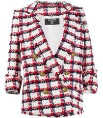 6 btn checked tweed jacket