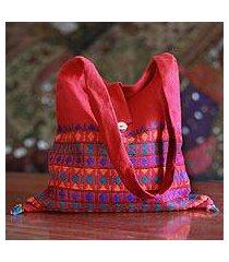 cotton shoulder bag, 'crimson tease' (india)