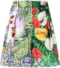 dolce & gabbana multi-pattern pleated shorts - green