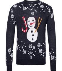 happy snowman jumper stickad tröja m. rund krage blå julesweaters