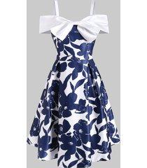 bowknot cold shoulder foldover dress