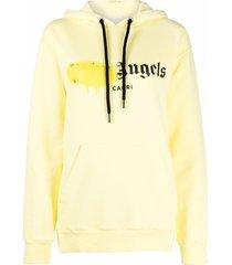 palm angels capri sprayed logo hoodie - yellow