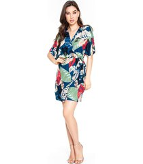 vestido transpassado lemier collection estampado - kanui