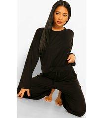 petite sweater met strik & baggy joggingbroek pyjama set, black