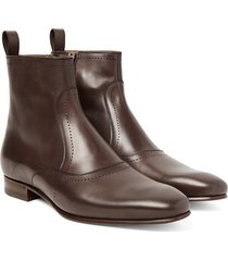 handmade men brown leather boots, leather boots for men, men dress formal boots