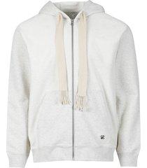 bi-color anagram zipped hoodie grey