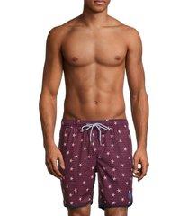 mr swim men's starfish swim shorts - red white - size s