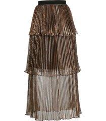 self-portrait metallic tiered pleated skirt - brown