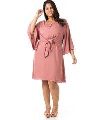 vestido crepe decote v e amarração plus size confidencial extra feminino