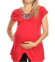 white mark maternity myla embellished tunic