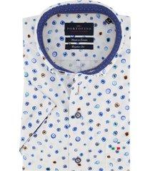 korte mouwen portofino overhemd blauw wit dessin