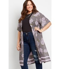 maurices plus size womens gray floral duster kimono