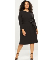 lane bryant women's lena long-sleeve v-neck dress 16 black