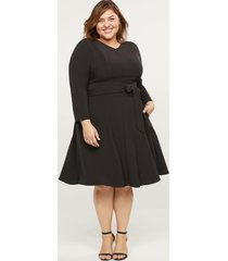 lane bryant women's lena long-sleeve v-neck dress 14 black