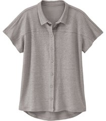 linnen-jersey blouse, zilvergrijs 36/38