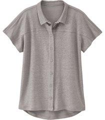 linnen-jersey blouse, zilvergrijs 44