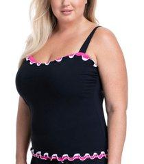 profile by gottex plus size tutti frutti ruffled underwire tankini top women's swimsuit