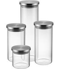 conjunto com 4 potes herméticos de vidro com tampa inox electrolux incolor