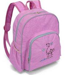 mochila infantil feminina 4 divisões gatinho bordado - unissex