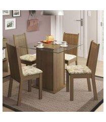 conjunto sala de jantar madesa lucy mesa tampo de vidro com 4 cadeiras rustic/lírio bege
