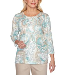 alfred dunner cottage charm embellished paisley print top