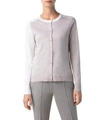 women's akris punto contrast cardigan, size 16 - beige