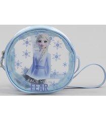 bolsa infantil redonda elsa frozen transparente azul claro