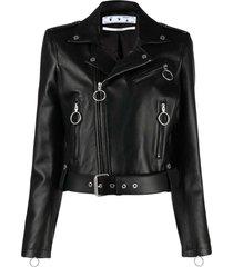 off-white black leather cropped biker jacket