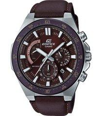 reloj casio efr-563bl-5avudf marrón cuero