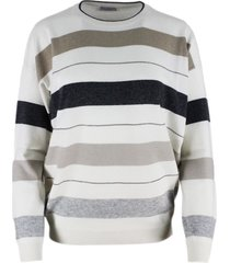 brunello cucinelli oversized cashmere crewneck sweater with stripes and rows of jewels